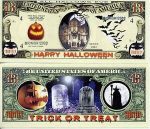 Halloween-13-Dollar-Bill-Fake-Funny-Money-Novelty-Note-FREE-SLEEVE