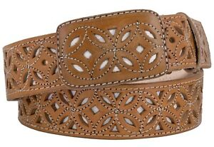 Mens Concho Cowboy Belt Western Dress Overlay Studs Real Leather Light Brown