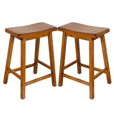 Outstanding Gaucho Set Of 2 Kitchen 24H Counter Height Bar Saddle Stools Solid Wood In Oak 840412073052 Ebay Pdpeps Interior Chair Design Pdpepsorg