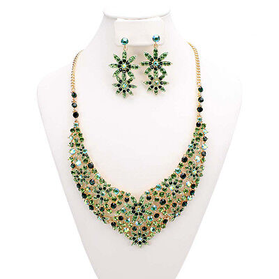 BRAND NEW Emerald Green Color Wedding Bridal Rhinestone Necklace Fashion Jewelry