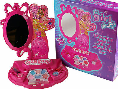 Girls Vanity Mirror And Case Dressing Table Toy - WITH REAL MAKE UP AND NAILS