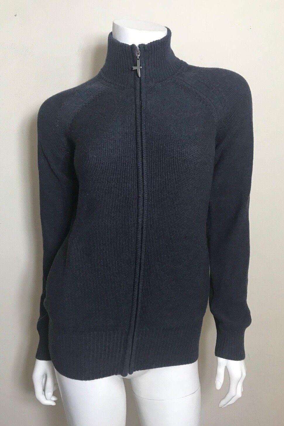 Untouched World NZ Merino Wool Zip Up Sweater in Navy Size S