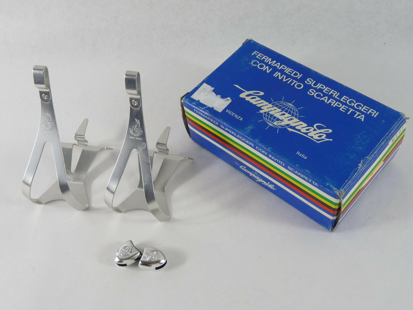 Campagnolo Super Record Toe Clips Alloy Medium W Cinelli Toe Strap Buttons NOS