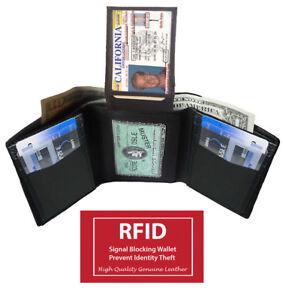 BLACK-RFID-BLOCKING-MENS-GENUINE-LEATHER-THIN-TRIFOLD-FLAP-TOP-2-ID-WALLET
