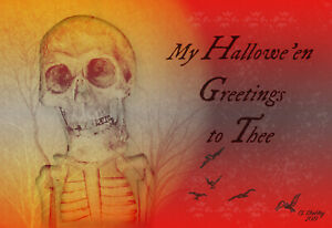 Halloween-Retro-VTG-Style-Original-Skeleton-Postcard-My-Hallowe-039-en-Greetings