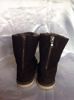 Niñas Negro Cuero Botas Talla 26