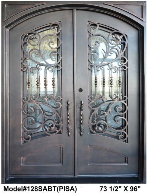 Pisa Wrought Iron Double Door Eyebrow Top Straight Frame In Dark Bronze