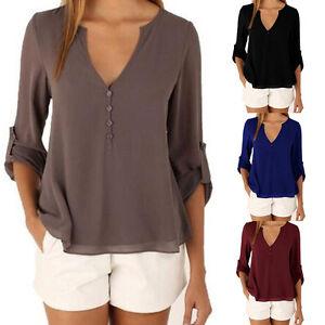 Damen-Chiffon-Langarm-Bluse-Shirts-Hemd-V-Ausschnitt-Tunika-Oberteile-Blusen-Top