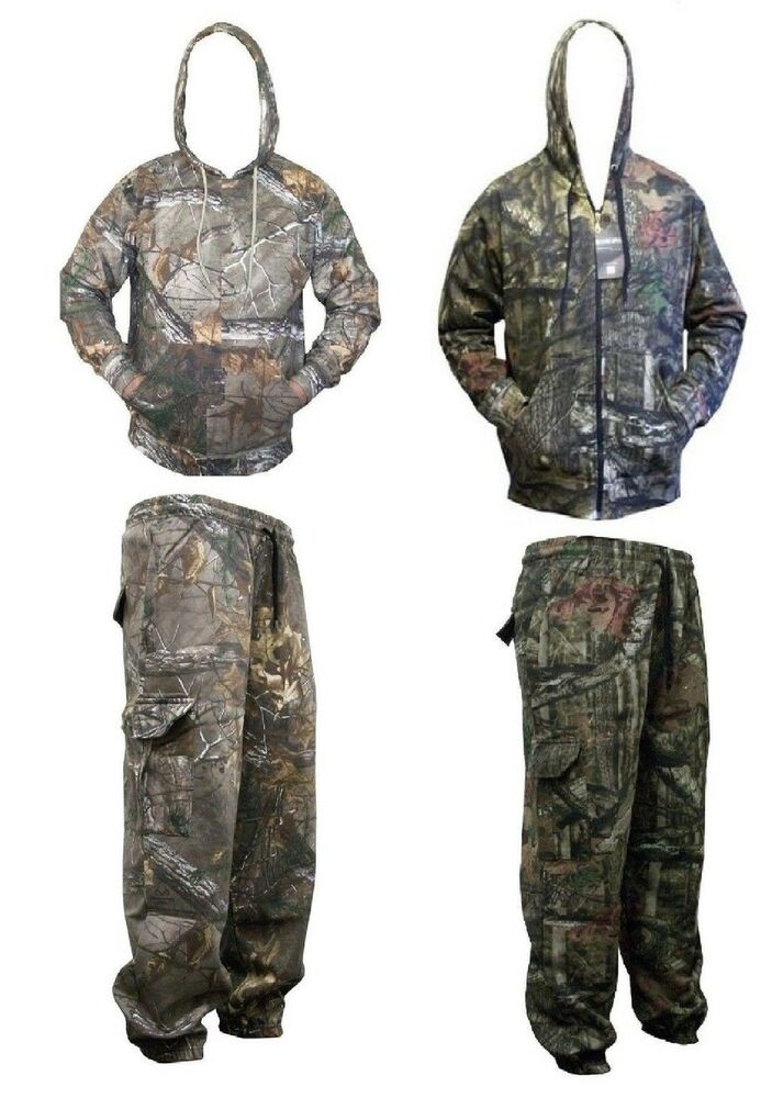 Hommes Real Tree Jungle Print Camo Camouflage Veste Top Survêtement à Capuche + Bas