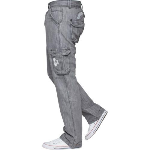 Mens Enzo Jeans Cargo Combat Stylish King Size Branded Denim Black Pants 28-48