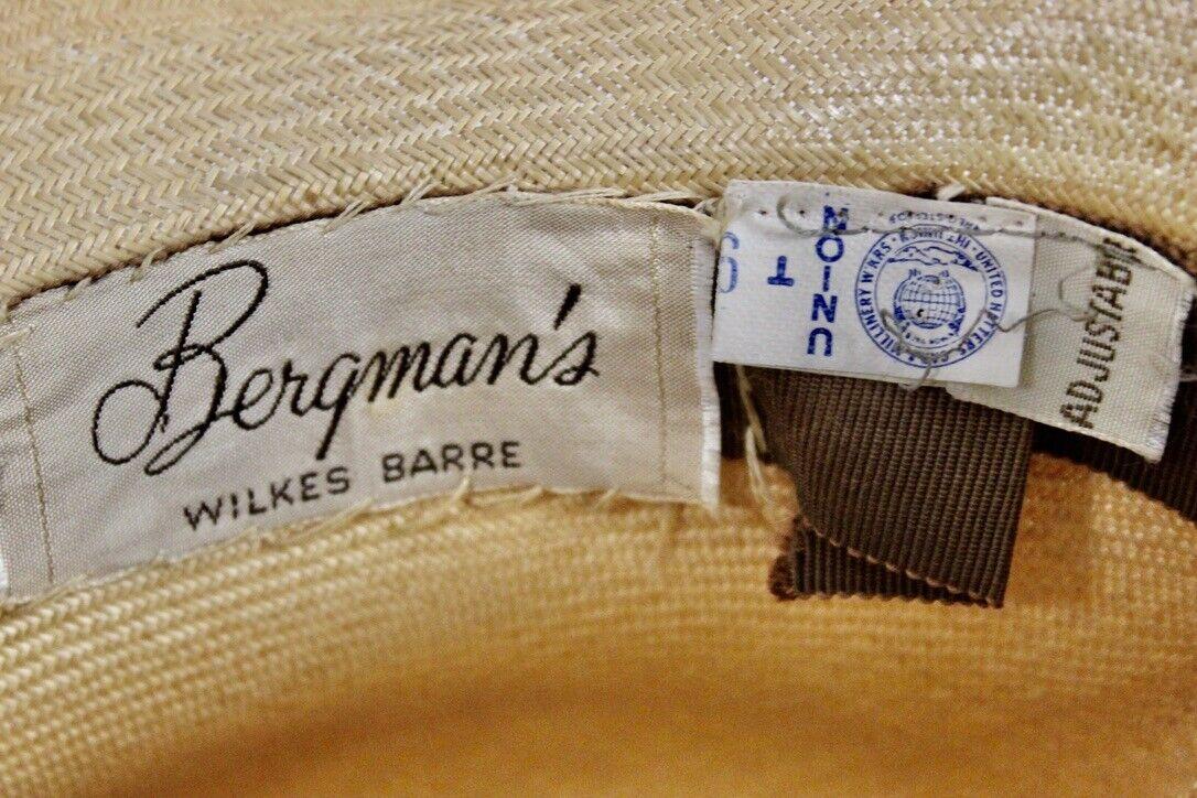 Vtg Womens Wide Brim Straw Hat Bergmans 1940s Neu… - image 5