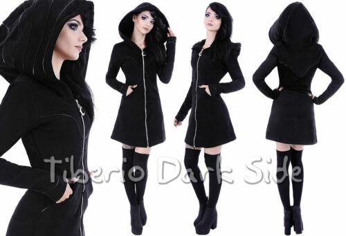 RESTYLE Lunatic Crescent Moon Zip Trim Black Cotton Nu Goth Jacket Long Hoodie