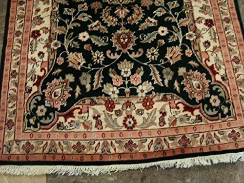 Mid Night Ivory Ivory Ivory Touch Flowers Area Rug Hand Knotted Wool Silk Carpet (6 x 4)' c86bb3