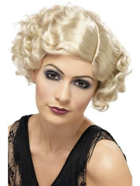 Short Blonde Curly Wig, 1920s Flapper Wig, Charleston