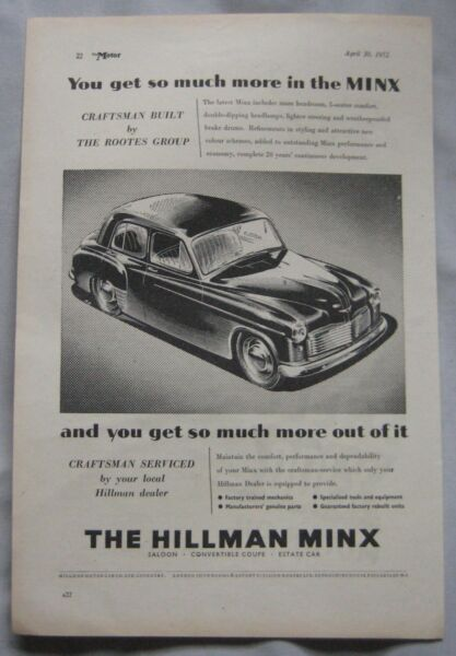 1952 Hillman Minx Original Advert No.1 Straatprijs
