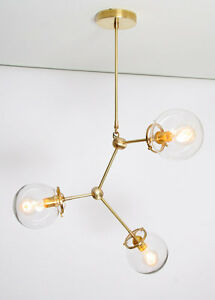 Image Is Loading Modern Br Globe Chandelier Lighting Fixture 3 Clear