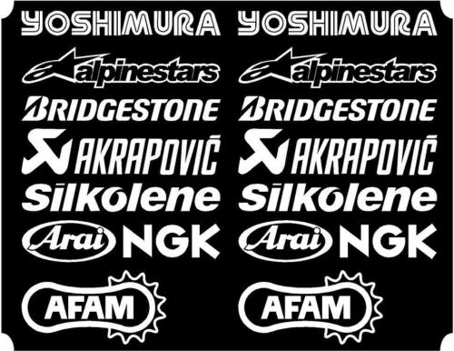16 X White Belly Pan Fairing Sponsor Logo Decals, Stickers Colour Choice 150mm
