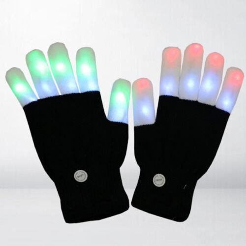 1//2pcs LED Rave Flashing Glove Glow 7Mode Light Up Finger Lighting Party Kid Ali