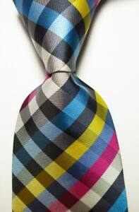 New-Classic-Checks-Black-White-Red-Blue-JACQUARD-WOVEN-Silk-Men-039-s-Tie-Necktie