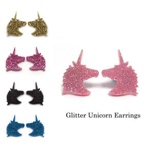 Unicorn-Earrings-15mm-Laser-Cut-Glitter-Acrylic-Surgical-Steel-Studs-Nickel-Free