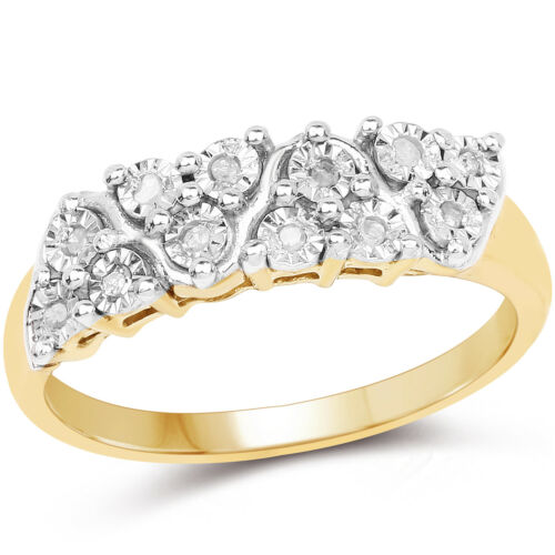 0.22 Ct Genuine Diamond 14K Yellow Gold Plated 925 Sterling Silver Wedding Ring