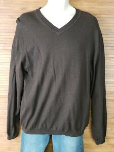 Pronto-Uomo-Brown-V-Neck-Cotton-Cashmere-Sweater-Mens-Size-XL-EUC
