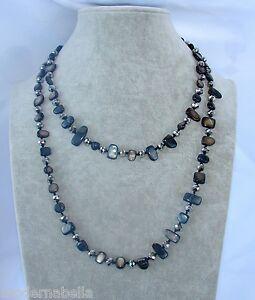 Naturale-perle-Collana-Filo-lungo-madreperla-cristallo-da-donna-nero-argento