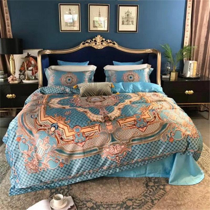 Bedding set 4pcs Luxury pure cotton duvet cover flat sheet pillowcases on sales