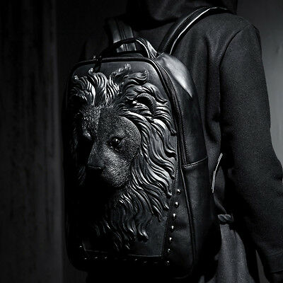 BytheR Men's Lion Embossing Backpack ONE SIZE COLOR BLACK P000BEOW N