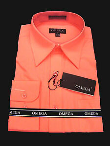NEW Mens Coral Long sleeve Dress Shirt All Sizes, Length | eBay