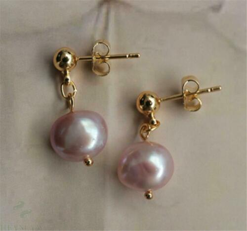 Details about  /9-10MM pink baroque pearl earrings 18K earbob grace party TwoPin gorgeous AAA