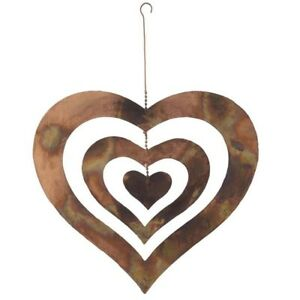 Image Is Loading Flamed Copper Spinning Heart Metal Garden Art Hanging