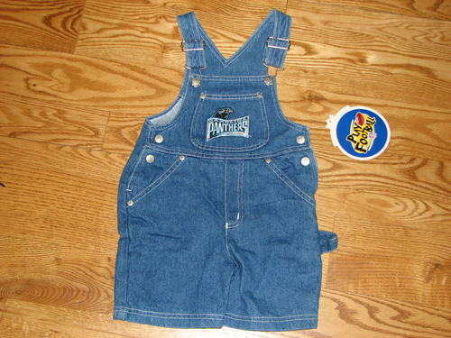 NEW Boys Carolina Panthers Shorts Bibs Bib Overalls Jeans Size 3T NFL Girls