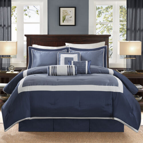BEAUTIFUL MODERN ELEGANT BLUE NAVY SILVER GREY WHITE COMFORTER SET /& PILLOWS
