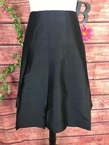 Banana Republic Skirt size 6 Black Silk Pleated Knee Cocktail Wedding Modest