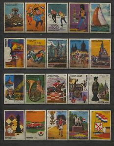 Complete-Set-of-20-Eurotrip-Dutch-Events-Serie-Dutch-Vintage-Matchbox-Labels