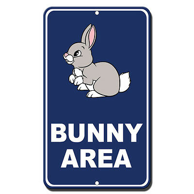 Warning Bunny With Attitude Novelty Funny Metal Sign 8 in x 12 in