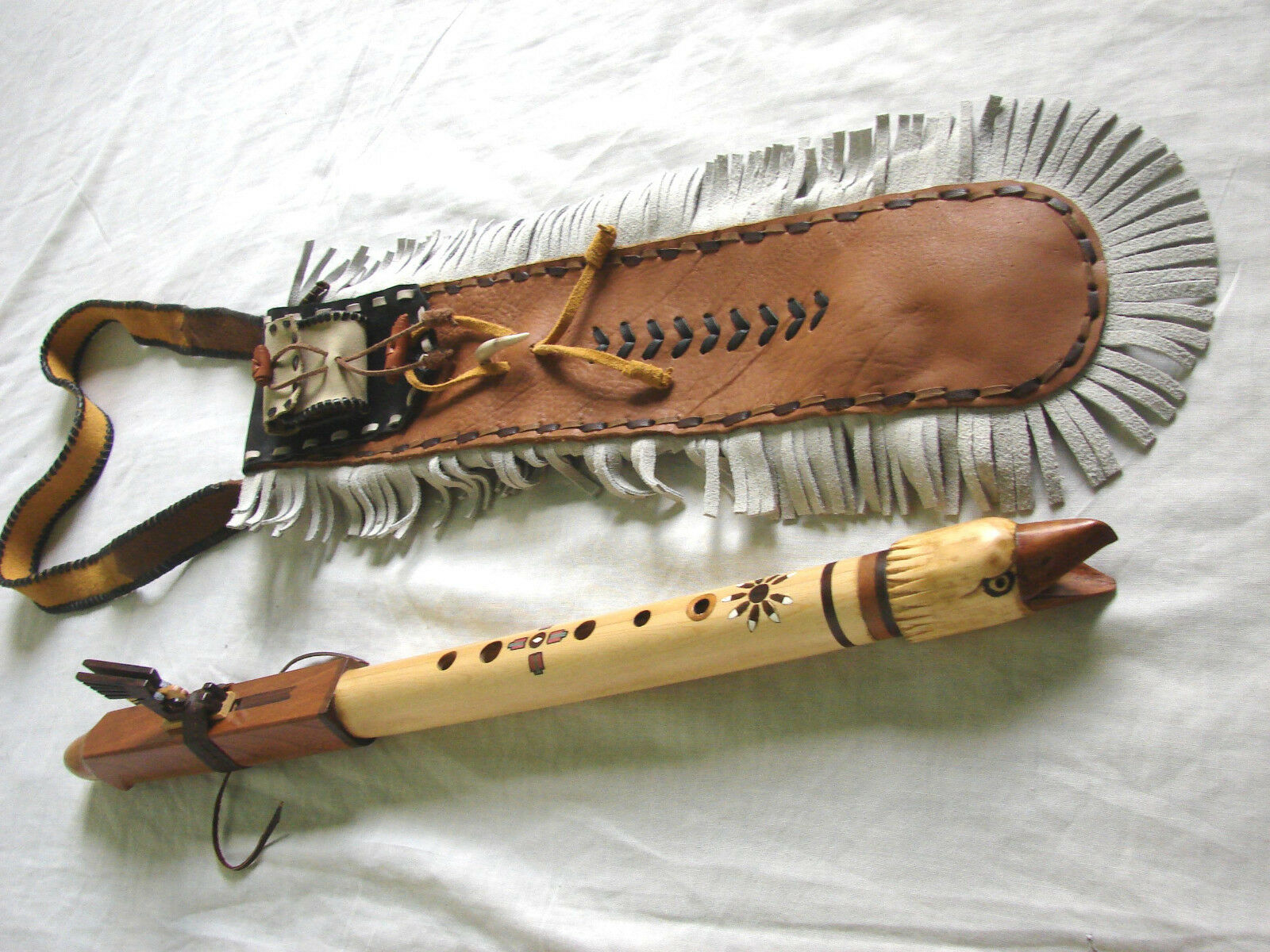 Leather native american flute bag