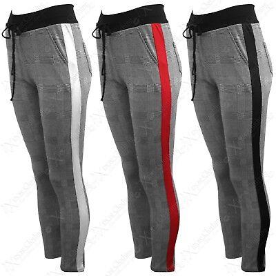 Ladies Mono Check Print Trousers Side Stripes Womens Leggings High Waist Pants