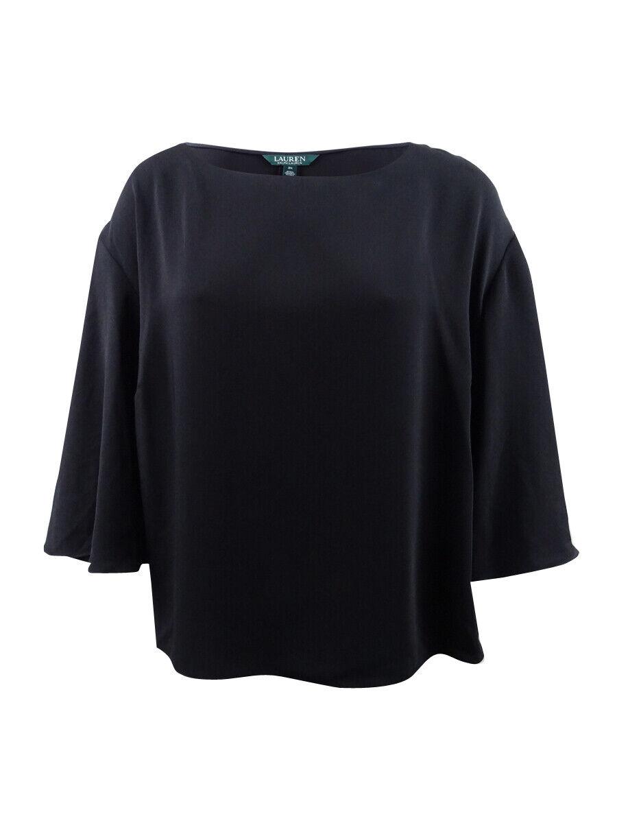 Lauren by Ralph Lauren Woherren Plus Bell Sleeves Cropped Blouse (3X, Polo schwarz)