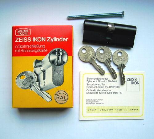 "/""Zeiss/"" Ikon Doppel-Profilzylinder Typ 525 3 Schlüssel Messing brüniert"