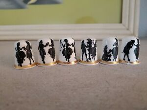Lot of 6 Finsbury Vintage Bone China Thimbles; Victorian Dancers Silhouette