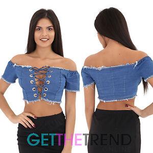 74dd7a53813819 Womens Denim Bardot Top Ladies Off Shoulder Lace Up Crop Tops Cotton ...