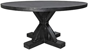 60 Round Dining Table Solid Mahogany Wood Hand Rubbed Black