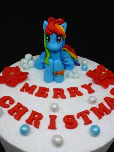 Edible My Little Pony Rainbow Dash Christmas Birthday Name Handmade Cake Topper