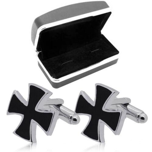 Geschenkbox Set Manschettenknöpfe Knopf Edelstahl Herrenschmuck Eisernes Kreuz