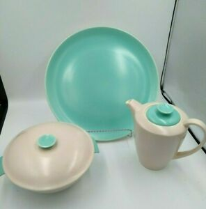 MCM-Poole-Pottery-England-Aqua-P001-Charger-Plate-Coffee-Pot-Covered-Bowl-3pcs