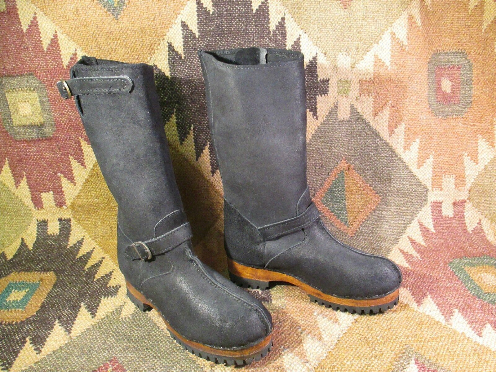 noir''TWO LIPS'' SUEDE LEATHER ENGINEER bottes Taille 6