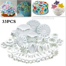 33pc Sugarcraft Cake Cupcake Decorating Fondant Icing Plunger Cutter Cookie Tool