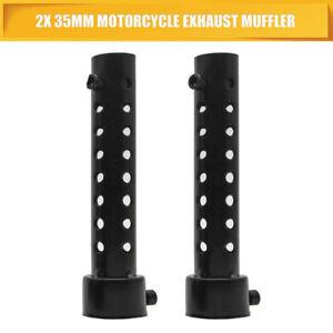 2x-35mm-universale-Motociclo-Silenziatore-Inserto-Baffle-SCARICO-curva-SILENCER